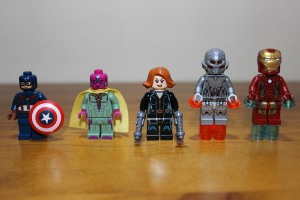 Front view: Captain America, Vision, Black Widow, Ultimate Ultron, Iron Man Mk43
