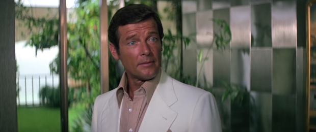 Roger Moore with tongue firmly in cheek