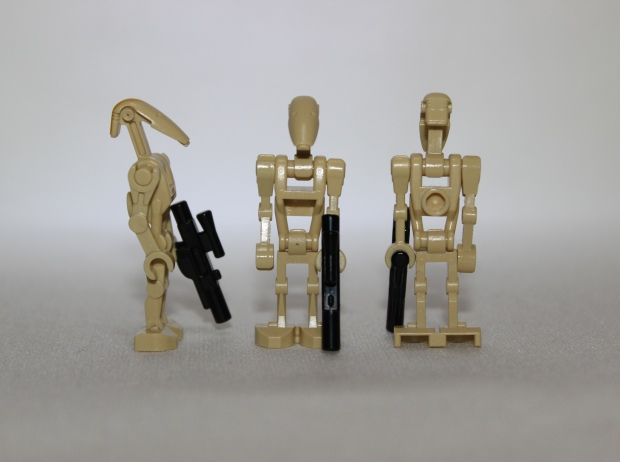 Side, front and rear view of the Battle Droids