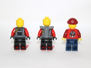 Rear view of mini figures with tanks on