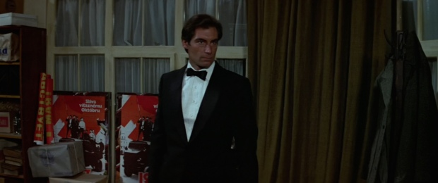 Timothy Dalton as James Bond 007 and wearing a Tuxedo in style