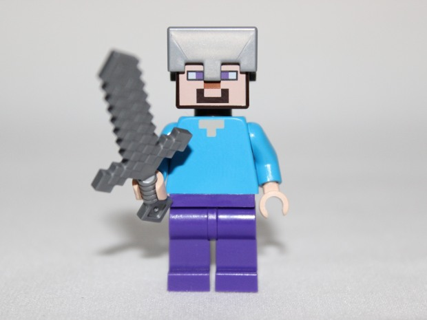 Steve with his armour helmet and sword